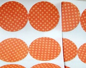 Tiny Orange Tonal Polka Dots Stickers Seals set of 12