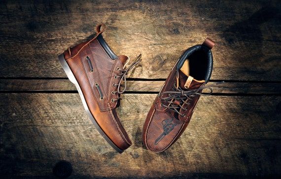 CUSTOM listing for Jacky - HIGHTOP Leather Boat Shoes - Distressed Oiled Dark Tan Cowhide - Chef's Knives