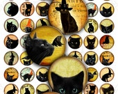 Digital collage sheet BLACK CATS 1 inch circles scary style printable jpeg file black cat witch hat crow jewellery / T191