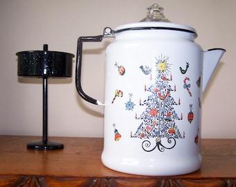Christmas Tree, Enamel Coffee Pot, Delano Studios, Enamelware Pot, Vintage