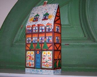 Vintage, Scandinavian Cottage, Advent Calendar, Mid Century, Caspari, Denmark, Christmas Calendar, Toy Shop, Christmas Decoration, Ephemera