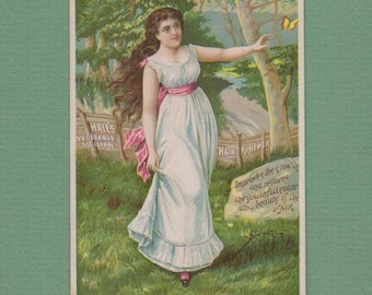 Vintage 1890's Victorian Trade Card Woman Petticoat Butterfly