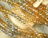 72 Faceted Crystal Beads Topaz & Silver AB 6mm x 8mm Rondelle Spacers (C288)