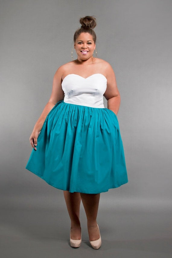jibri plus size high waist flare skirt color block by