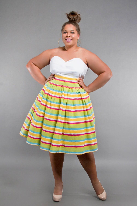 jibri plus size high waist flare skirt stripe by