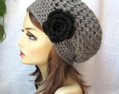 Crochet Beret  Womens Hat, Slouchy Beret, Charcoal Gray, Rose, Winter Hat, Birthday Gifts for Her Girls Teens JE407SBTF6