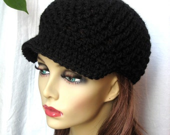 SALE Womens Hat, Black Newsboy, Pick Your Color, Cancer Hat, Teens, Girls, Gifts for Her, Birthday Gifts, Handmade, JE148N
