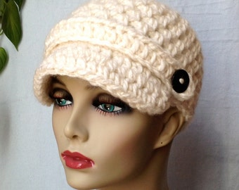 Crochet Womens Hat, Newsboy, Cream, Very Soft Chunky, Warm. Teens, Winter, Ski Hat, Birthday Gifts, Gifts for Her, JE505N4