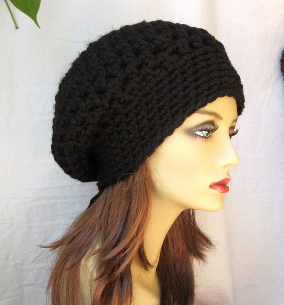 SALE Crochet Slouchy Beret, Womens Hat, Black, Choose Your Color, Chunky, Head Cover, Teens, City Hat, Birthday Gifts for Her JE410BES