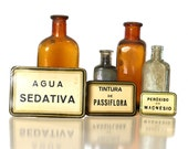 Apothecary Labels, Spanish Medicine Bottle Labels Set of Three