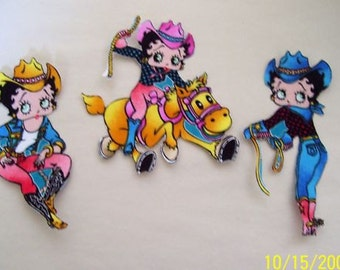 Betty Boop RIDE EM COWGIRL   Iron On Applique 3pc Set