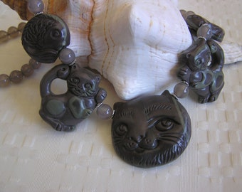 Panda and Friends    (Carved Cat Necklace)