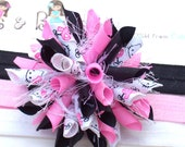 Hello Kitty with a cause Breast Cancer Awareness Ribbon Boutique Baby Girl Korker Hair Bow Clip Shimmery Elastic Headband