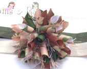 Camo Cutie Army Inspired Camouflage Boutique Baby Girl Korker Hair Bow Shimmery Elastic Headband