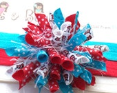 Dr Seuss Cat in the Hat Inspired Polka Dots Back to School Boutique Baby Girl Korker Hair Bow Shimmery Elastic Headband