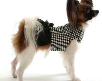 Houndstooth Dog Jacket Coat with skirt