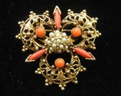 Reserved for V do not buy Vintage Coral & Seed Pearl Flower Pin Brooch 1950s