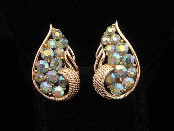 Vintage Coro Aurora Borealis Rhinestone Leaf Fall Earrings