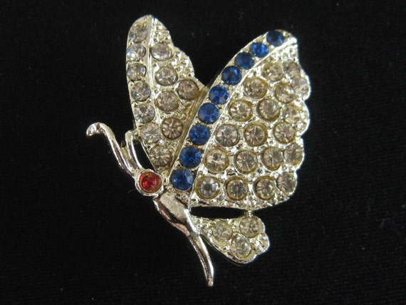 Vintage Rhinestone Butterfly Pin Bug Insect