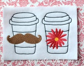 His and Hers Cup, INSTANT DIGITAL DOWNLOAD, Mustache Embroidery Design for Machine Embroidery 5x7