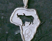 Map of Africa, Buffalo cut out, Big five