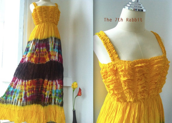 Sea Sand Sun....Maxi Dress with Tie Dye in Canary Yellow