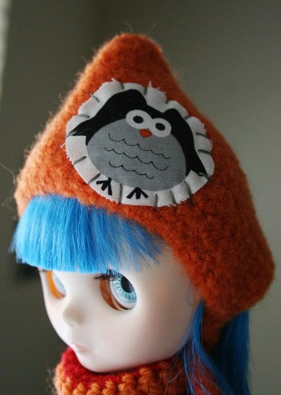 Cute Halloween Themed Gnome Helmet for Blythe - Owl