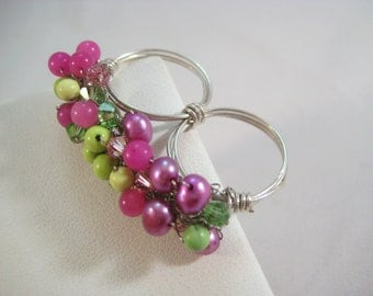 Crocheted 2 Finger Ring Hot Pink & Green