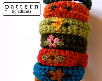 Crochet Wristband Pattern, Bracelet Pattern, with Flower Embroidery, Digital PDF
