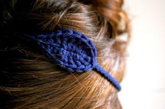 Crocheted Leaf Headband, Dark Blue Wool