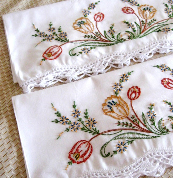 Vintage Embroidered Pillow Cases Floral Orange Green Brown New
