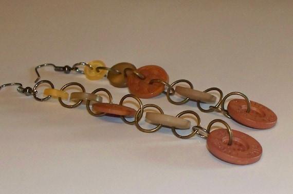 Autumn Brown Gold Orange Button Dangle Earrings