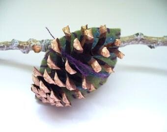 Pinecone Brooch Rustic Woodland Gift Felt Handmade OOAK