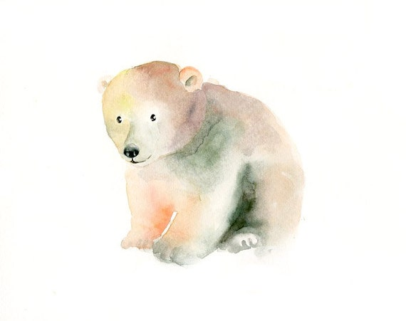 POLAR BEAR cub by DIMDI Original watercolor painting 10x8inch