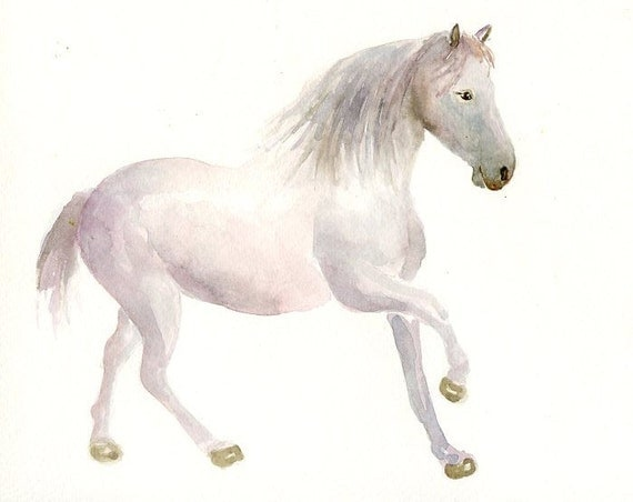 HORSE by DIMDI Original watercolor painting 10x8inch
