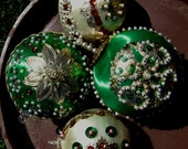 4 Vintage Handmade Ornaments, Satin Sequin 60s, Lot of 4, Embellished Bling for Your Tree or Centerpiece, Winter Wedding Decor