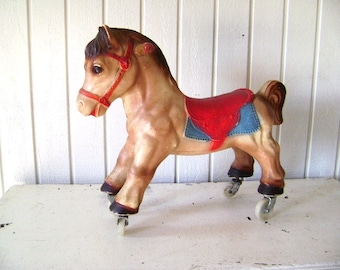 Reduced Vintage Toy Riding Horse, Child's, Old Fashioned Toy, Giddee Up, Saddle, Wheels, Red Brown, Cowboy Kid Photo Prop, Display