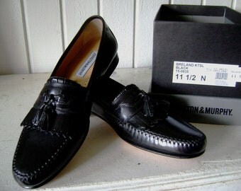 REDUCED New Old Vintage Johnston and Murphy Classic Shoes, Men's Size 11.5, Black Kiltie Tassel, Original Box, SALE Were 165, Sunday Best
