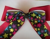 Red with Multi Colored Star Print  Extra Large Cheer Dance Team Double Stacked Hair Bow with Tails