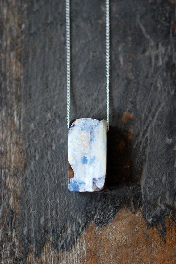 Raw White Boulder Opal Pendant
