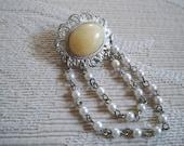 Vintage Jewelry Brooch Silver Set Brooch Pearl Drop Chains