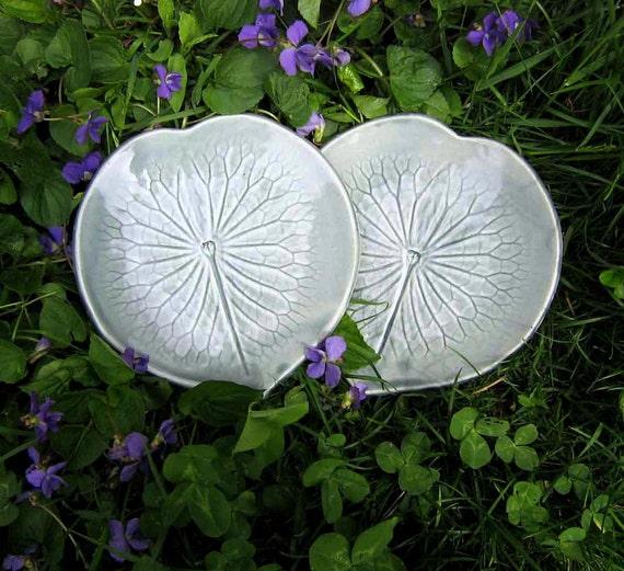 Two Lilypad Side Plates / handmade stoneware