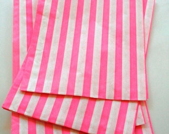 Set of 100 - Traditional Sweet Shop Pink Stripe Paper Bags - 10 x 14