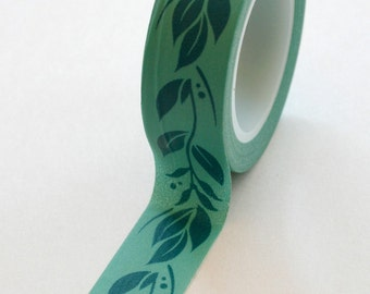 Washi Tape - 15mm - Teal Laurel Design on Blue Green - Deco Paper Tape No. 239