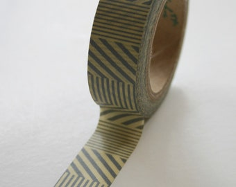Washi Tape - 15mm - Grey Line Patterns on Yellow - Deco Paper  No. 420