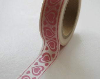 Washi Tape - 15mm - Pink Hearts and Dots - Deco Paper Tape No. 259