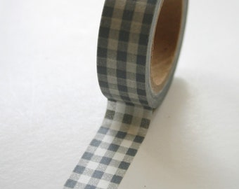 Washi Tape - 15mm - Grey Gingham Pattern - Deco Paper Tape No. 76