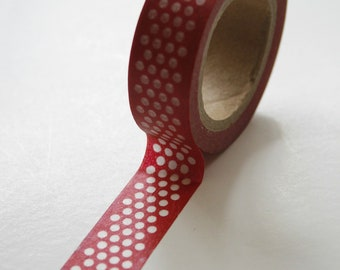 Washi Tape - 15mm - White Center Polka Dot on Red - Deco Paper Tape No. 192