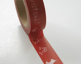 Washi Tape - 15mm - White Christmas Design on Red - Deco Paper Tape No. 421