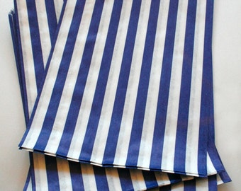 Set of 50 - Traditional Sweet Shop Blue Candy Stripe Paper Bags - 5 x 7